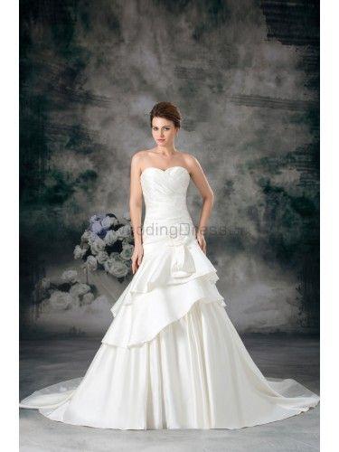 Satin Sweetheart Sweep Train Sheath Hand-made Flower Wedding Dress