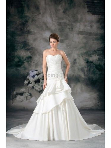 Satin Sweetheart Sweep Train Sheath Hand-made Flower Wedding Dress