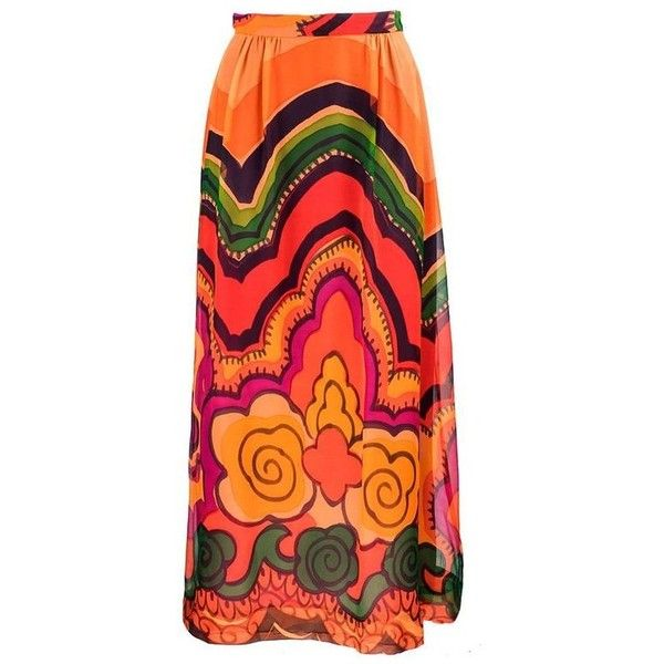 Preowned 60s California Designer Ruth Matthews Psychedelic Maxi Skirt... (1.630 BRL) ❤ liked on Polyvore featuring skirts, multiple, long skirts, long wrap skirt, long chiffon maxi skirt, long patterned skirt and patterned maxi skirt