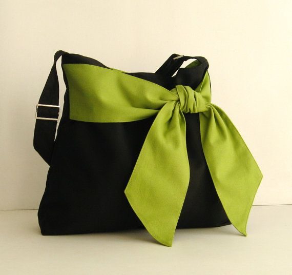 Sale - Black Cotton Twill Bag, tote, diaper bag, messenger, bow, stylish, fashionable - Ninny on Etsy, $39.00