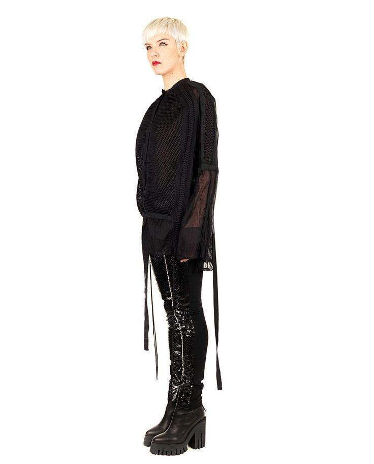 DI LIBORIO Liborio Red Label black shirt  round neck  long sleeves puffed  hanging strings side  plot Honeycomb  100% CO