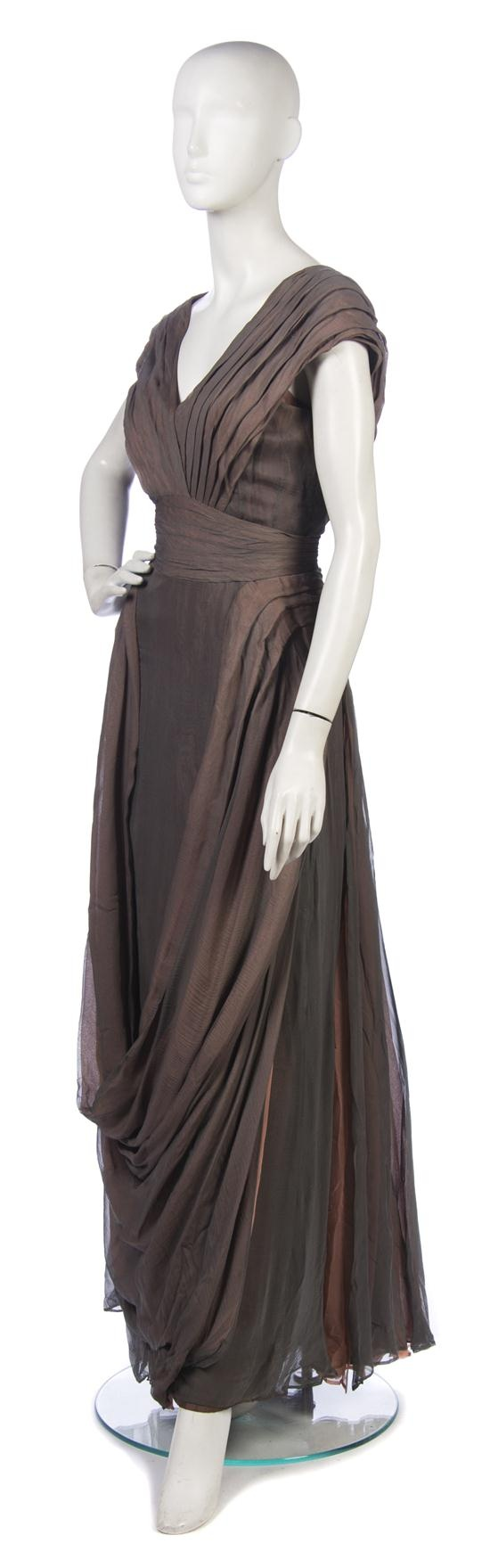 Evening gown (probable runway sample) | House of Paquin | 1930s | silk chiffon | Sale 223 Lot 89 | Leslie Hindman Auctioneers
