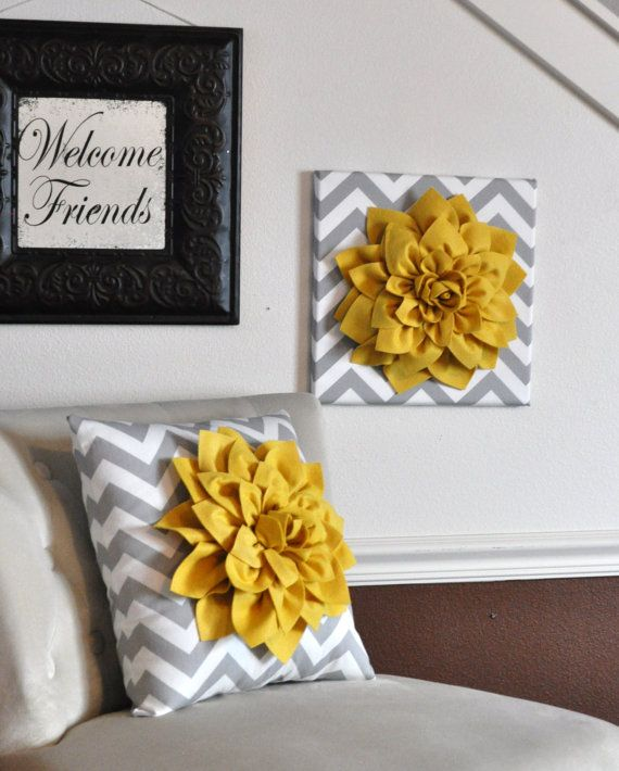 Wall Flower Mellow Yellow Dahlia on Gray and White by bedbuggs, $34.00