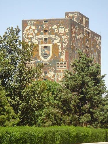 "Mosaic mural by Juan O'Gorman on the library building of the ""Universidad Nacional Autonoma de Mexico"".  Mexico City, MEXICO."