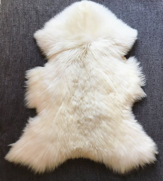 Small White Lambskin Rug. Premium Quality Sheepskin by ZubaHomely