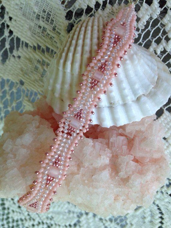 Hand beaded pink rippled herringbone bracelet by BeadALittleDream, $16.00