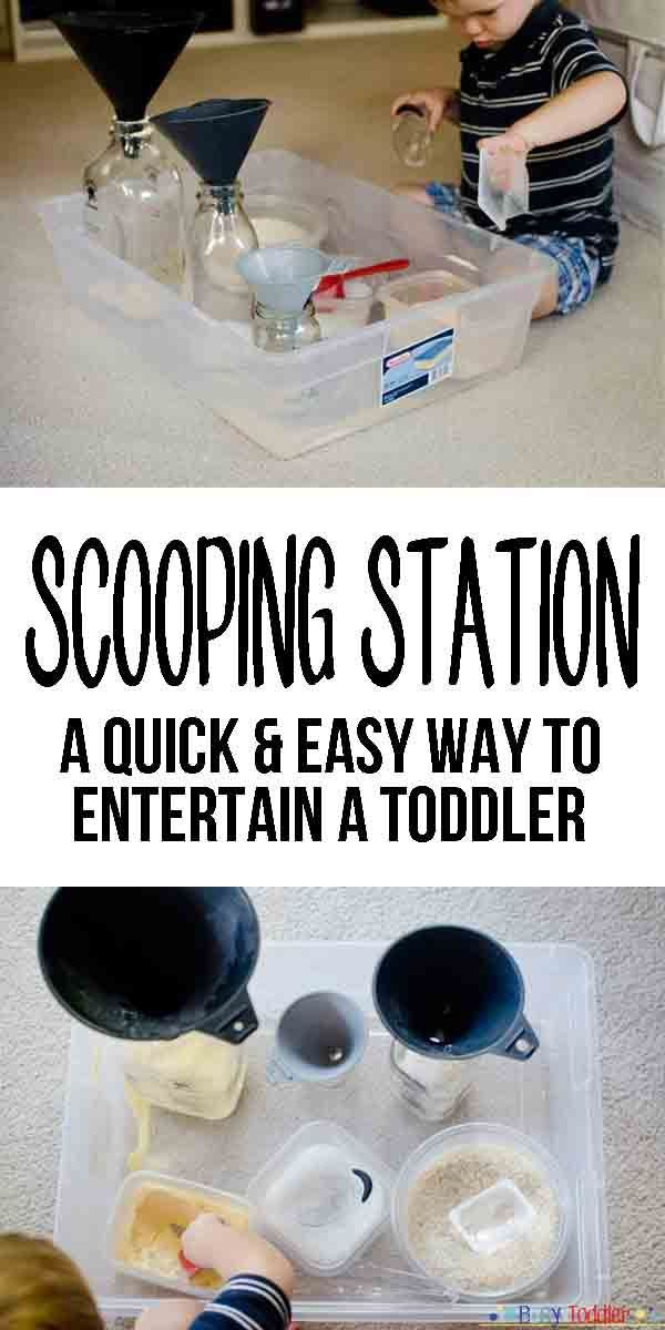 Scooping Station: a quick way to entertain a toddler