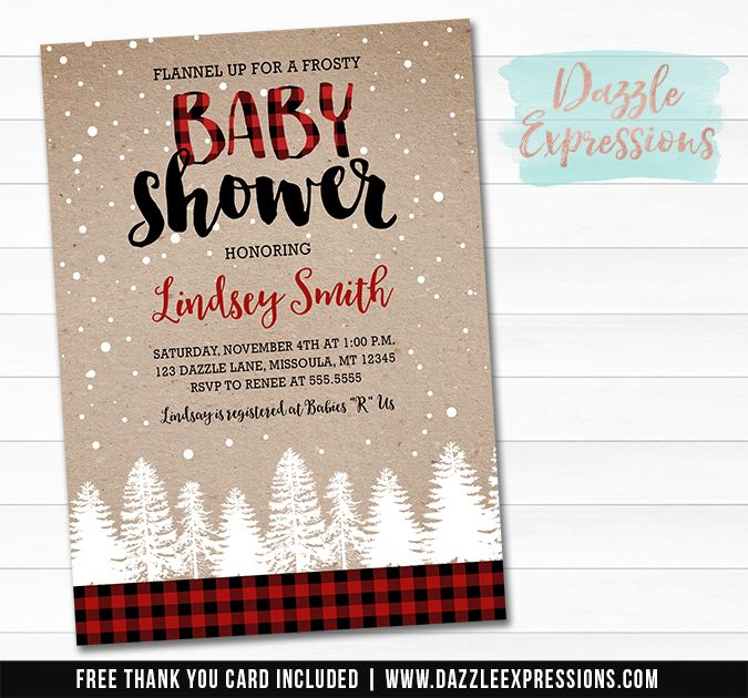 Printable Plaid Winter Baby Shower Invitation Snowy Trees Red And Black Buffalo Plaid Baby Shower Invitations Baby Shower Winter Buffalo Plaid Baby Shower