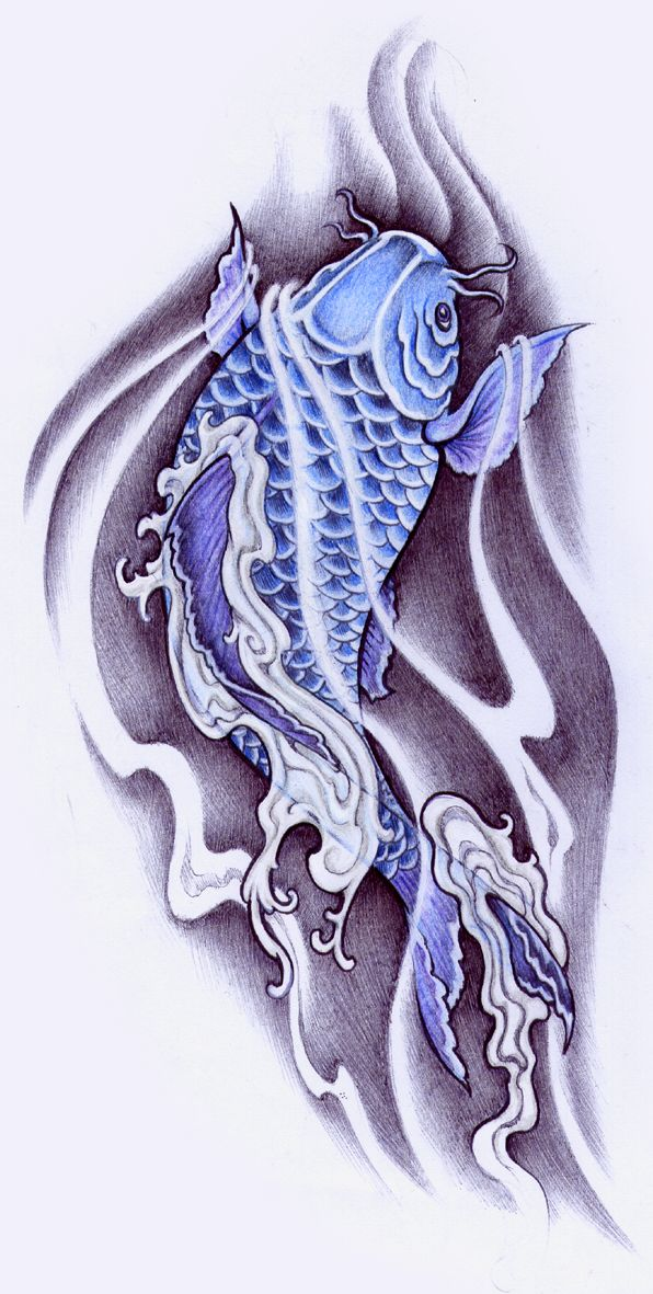 38 best blue koi fish tattoo designs images on pinterest for Blue koi fish tattoo