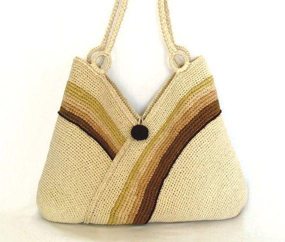 Crochet hand bag Shoulder bag autumn fashion Ecru knitted