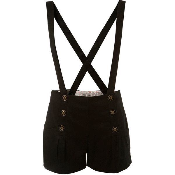 Black Braces Shorts ($44) ❤ liked on Polyvore featuring shorts, bottoms, pants, short, women's clothing, cotton shorts, short shorts, black short shorts, miss selfridge and black shorts