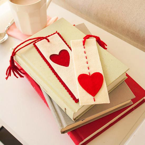 stitched bookmark : use disappearing ink to mark stitches, then stitch along the lines using embroidery floss. Cut a heart from red felt and glue it on the front