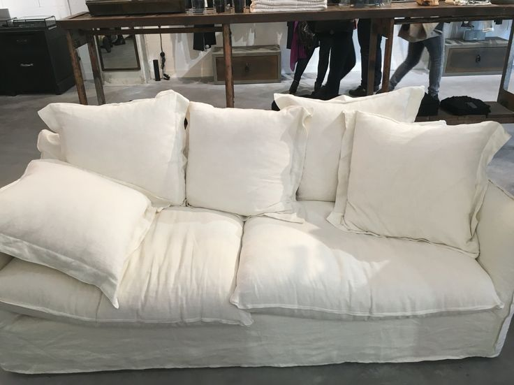 White linen couch