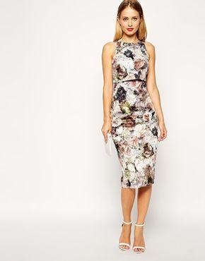 ASOS Autumnal Blossom Print Crop Top Midi Pencil Dress $133.30