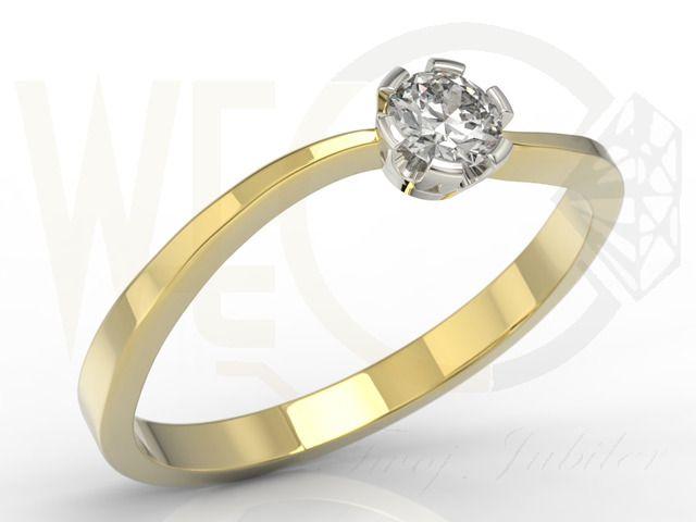 Pierścionek zaręczynowy z żółtego i białego złota z brylantem / Ring made from yellow gold with diamond / 2951 PLN / #ring #diamonds #gold #engagement #design