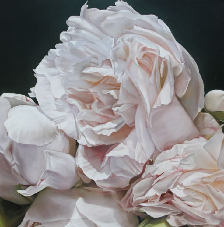 Black Leather Living Room Garden Rose And Peony: Art For Sale By Artist Oil Painter Thomas Darnell