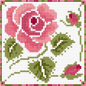 BLOG Rose card - FREE cross stitch chart