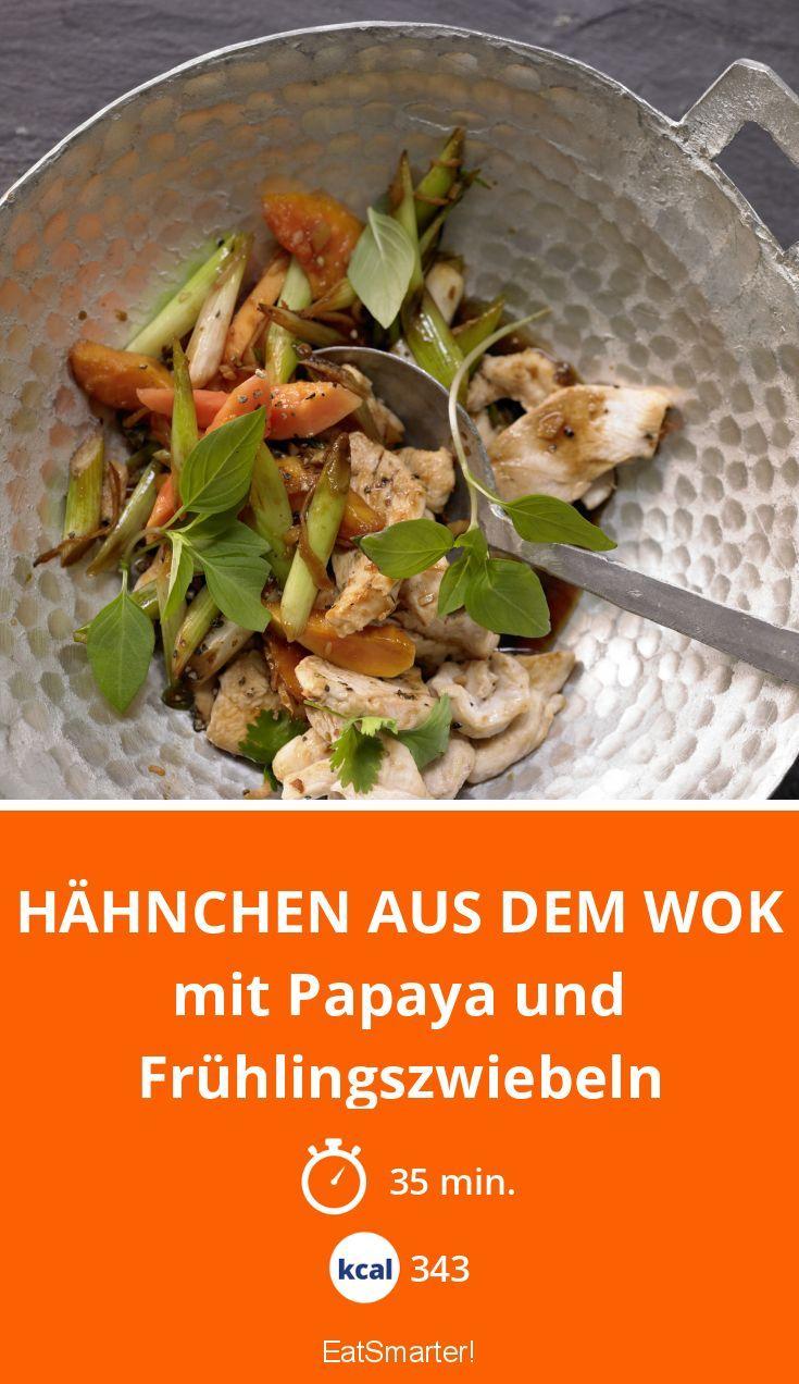 Hähnchen aus dem Wok - mit Papaya und Frühlingszwiebeln - smarter - Kalorien: 343 Kcal - Zeit: 35 Min.   eatsmarter.de