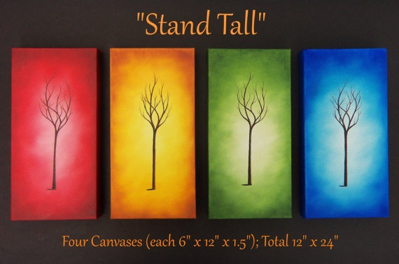 Original Art Deco Tree Painting Abstract Art Panel by BingArt, $115.95