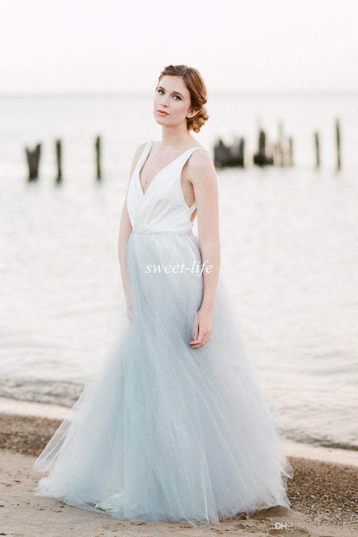 2016 Summer Beach Wedding Dresses Backless Blue And White Tulle Crystal Belt Deep V Neck Cheap Plus Size Sexy Bohemia Maternity Bridal Gowns Wedding Dresses In Lace A Line Dresses For Wedding Guests From Sweet Life, $110.23| Dhgate.Com
