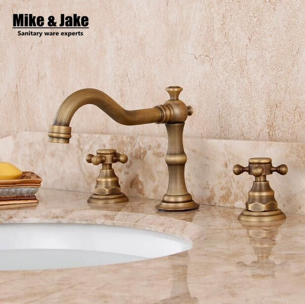 43.19$  Watch now - http://aihzo.worlditems.win/all/product.php?id=32643137657 - Three hold double handle antique brass faucet bathroom sink tap basin mixer vintage bathroom tap