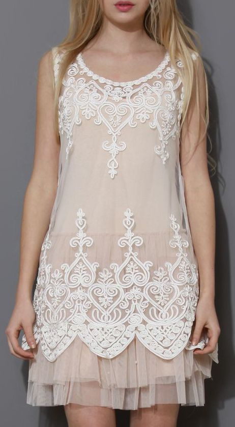 Baroque Embroidery White Mesh Top