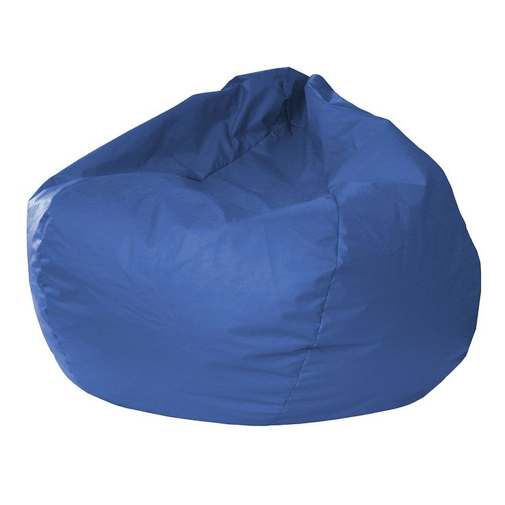 Small Faux-Leather Bean Bag Chair, Med Blue
