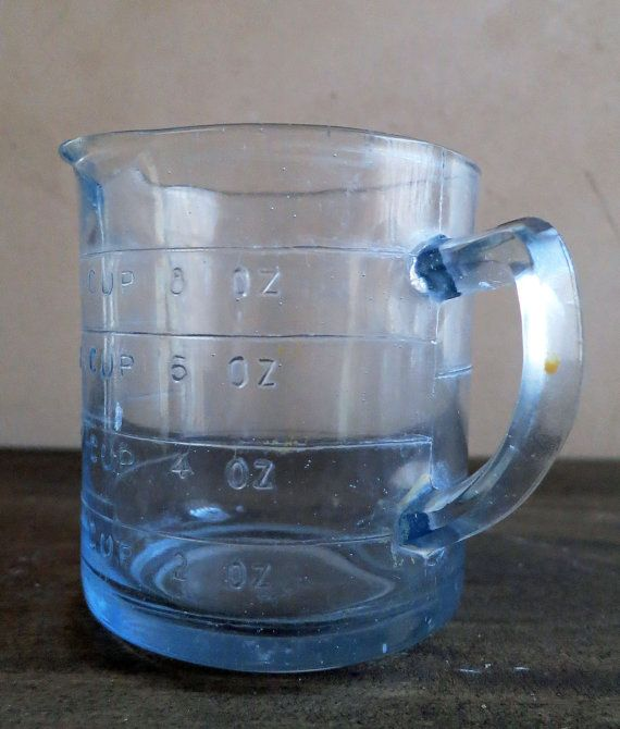 Fire King Sapphire Blue Oven Glass Measuring Cup, Blue Glass One Cup Measuring Cup, 1940's Kitchen