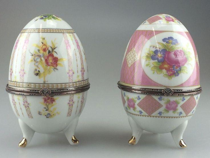 2x Porzellanei Dose Porzellandose Ei Metallmontierung Schmuckdose Schatulle N05   Antiquitäten & Kunst, Porzellan & Keramik, Porzellan   eBay!