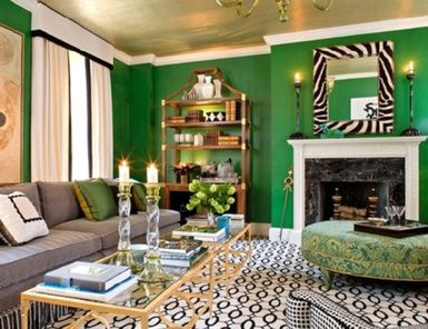 Metallic Gold Ceiling Contrasts Wonderfully With The Kelly Green Walls And Black White Accents