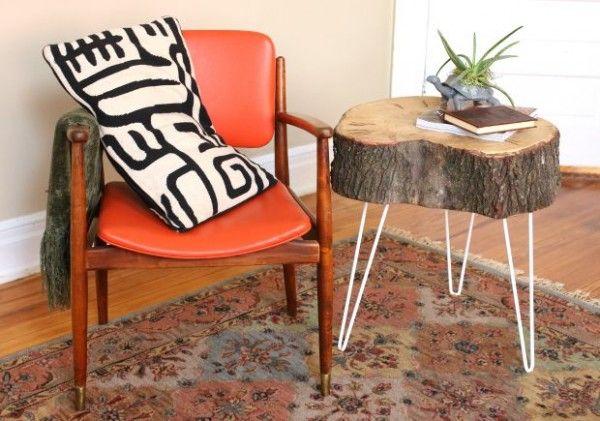 Table d'appoint souche d'arbre et hairpin legs  http://www.homelisty.com/diy-hairpin-legs/