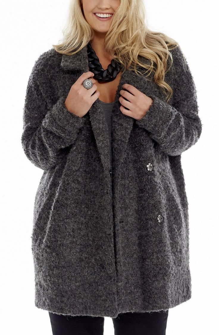 3/4 Length Boucle Coat. - Boucle Marle - Marle Boucle 3/4 Length Coat. This fully lined Coat has wide front lapels and 2 angled front welt pockets. It features heavy concealed front snap fastenings.#dreamdiva #dreamdivafiles #plussize #fashion