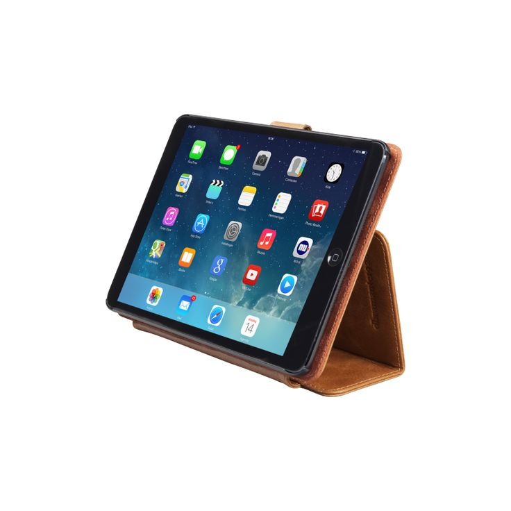 """""""Roskilde"""" protects your iPad Air while providing you with a standing viewing angle, but also features a typing mode for your iPad Air, making it easy-to-use for your work on the move. The case folds in a notebook style and fastens with a magnetic leather tab."""