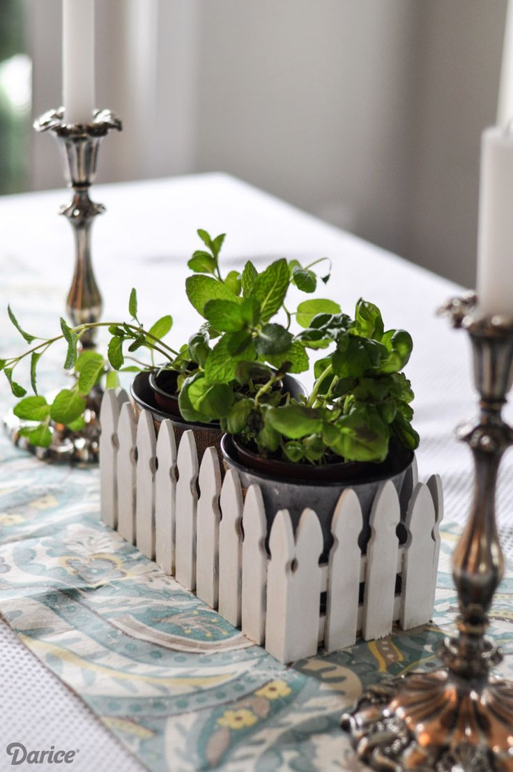 Spring Table Decor Picket Fence Centerpiece