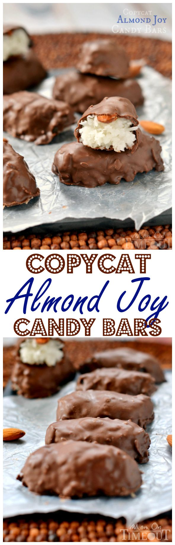 Easily make your own Almond Joy Candy Bars at home! With just a handful of ingredients you can make your own candy bars and trust me, they're SO much better than store-bought! The perfect treat for coconut lovers!| MomOnTimeout.com