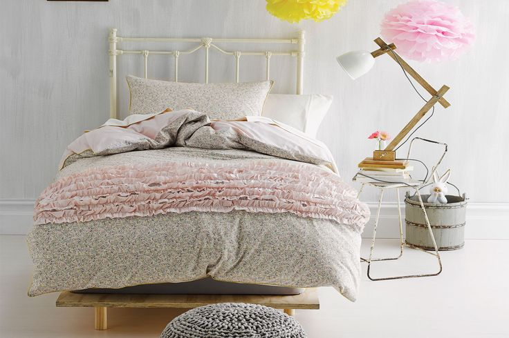 The Milly Pink Duvet Cover from Marie Claire has a beautiful gathered pink ruffle decoration that sits nicelyon a floral pattern background. It adds a lovelysoft touch to the bedroom.