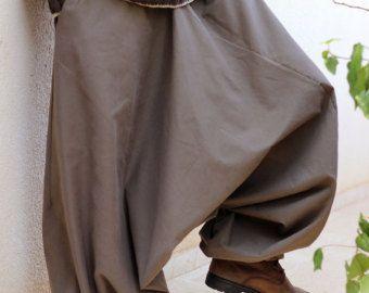 Bolsillos de baja entrepierna harén pantalones para los hombres con cara de profundo - pantalones de pierna amplia de marrón de color caqui Aladdin - Regular - grandes - tallas grandes - por encargo
