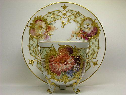 KPM Art Nouveau Flower Cup & Saucer
