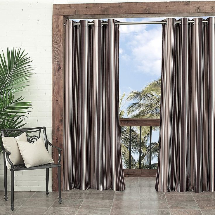 95 Inch Neutral Gazebo Curtain Striped Pattern Rugby Colors Outside