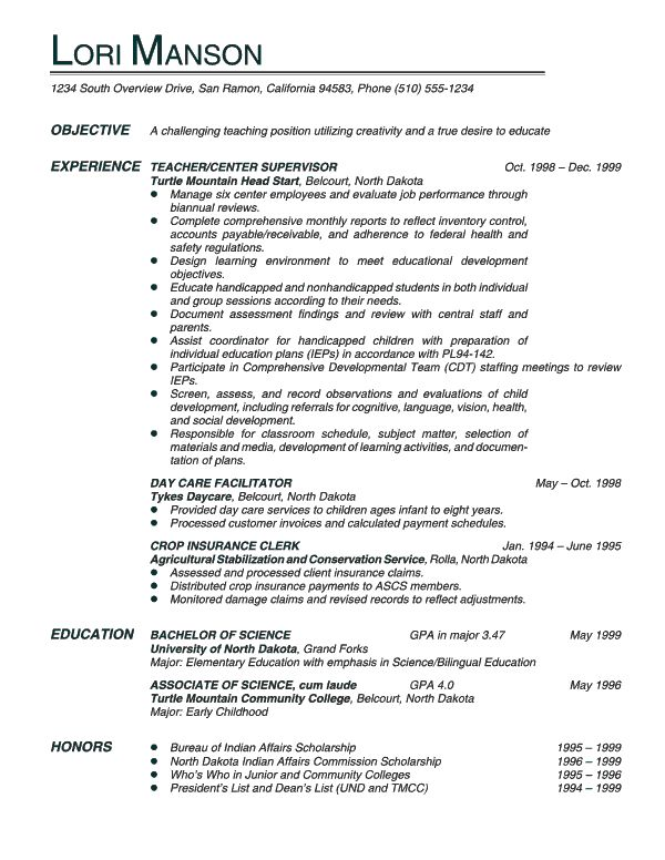 perfect cv for english teacher