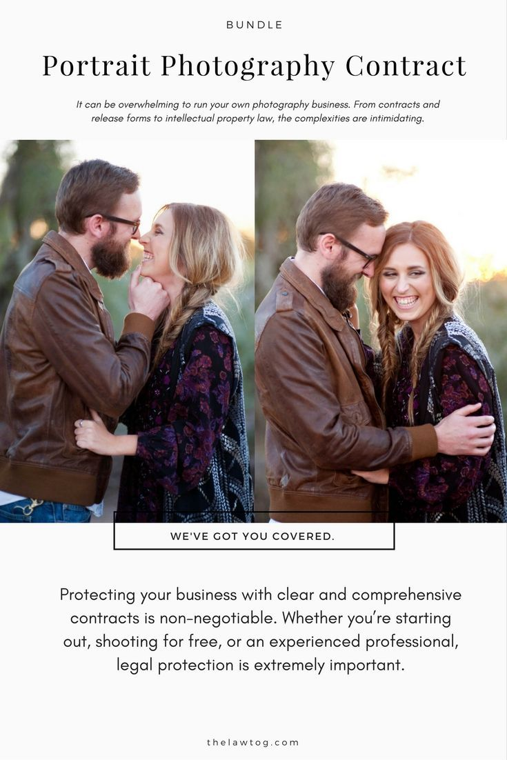 This photography contract template bundle includes the following forms: Portrait Contract Model Release (Adults) Model Release (Minors) Print Release Permission to Sell To a Third Party Product Delivery Agreement