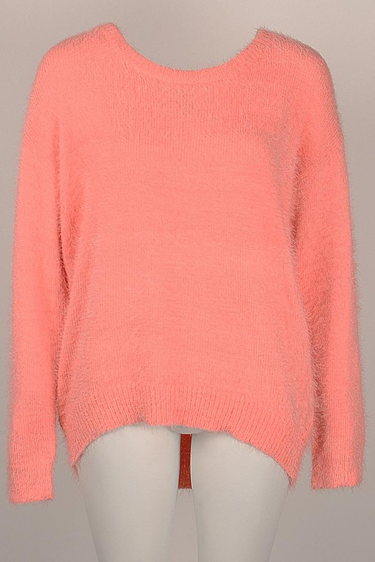 Coral eyelash knit jumper