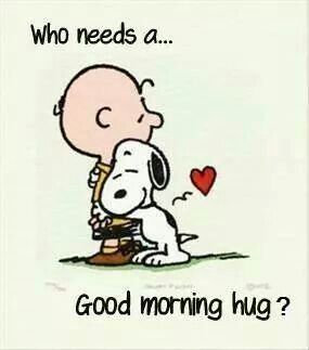 Snoopy hugs! Good morning hugs! YES I love this!