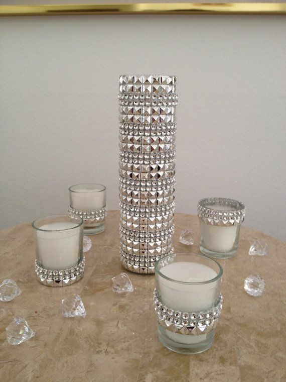 5 Piece Silver Rhinestone Bling Mesh Glass Candle Set With Votives For Weddings Home Decor