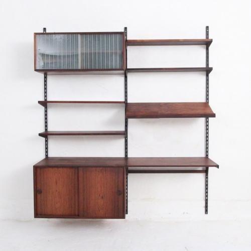 midcentury danish wallmounted rosewood fm shelving system by kai kristiansen for feldballe mbelfabrik for sale at pamono