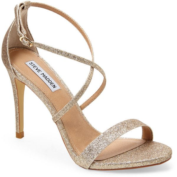 STEVE MADDEN Gold Feliz Strappy Sandals (255 VEF) ❤ liked on Polyvore featuring shoes, sandals, metallics, gold glitter shoes, open toe sandals, high heel shoes, gold high heel sandals and strap sandals