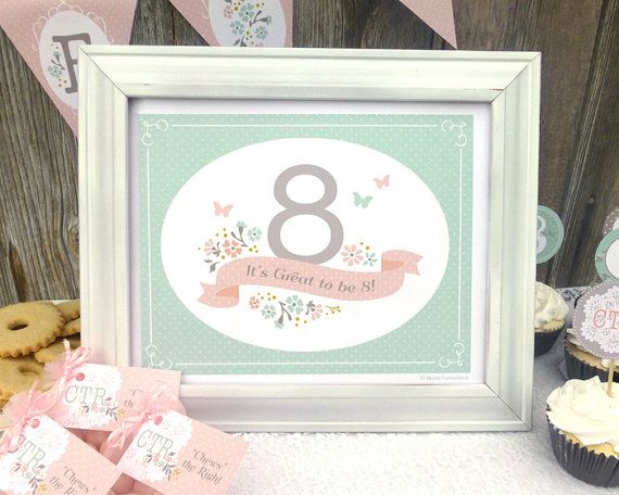 LDS Baptism Decoration Printable: Girl's Baptism Party Sign - It's Great to be 8 - Mint, Peach, and Gray with Banner and Flowers