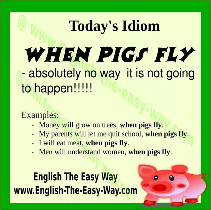I will quite leaning English. _______. 1. When pigs fly. 2. Never 3. Both #EnglishIdioms