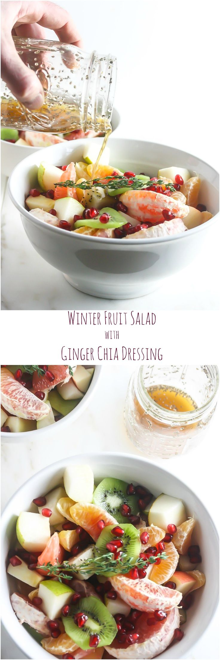 This Winter Fruit Salad with Ginger Chia Dressing is loaded with vitamins, nutrients, antioxidants and fiber! www.laurenkellynutrition.com