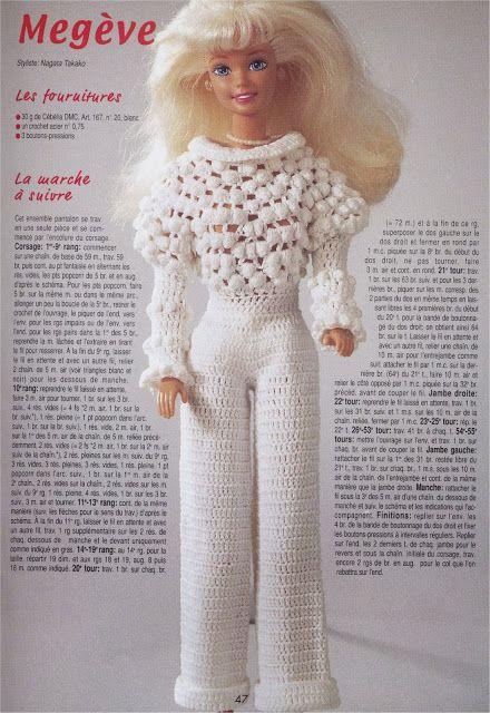 Барби Вязание Miniatures ремесла и вещи Больше: Как сделать костюм крючком для Барби с Graph
